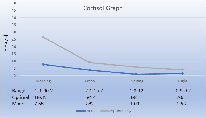 Cortisol Chart. Morning cortisol 7.68 nmol/L. Adrenal Fatigue Recovery Story.