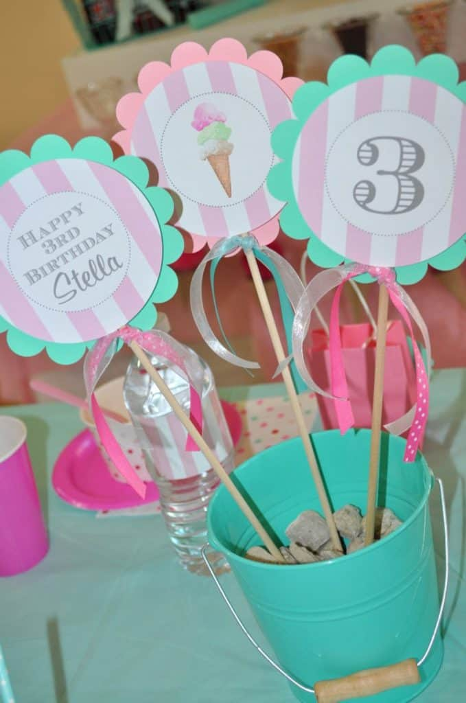 Ice Cream Party Centerpiece Sticks (so sweet party shop). Ice cream party decoration.
