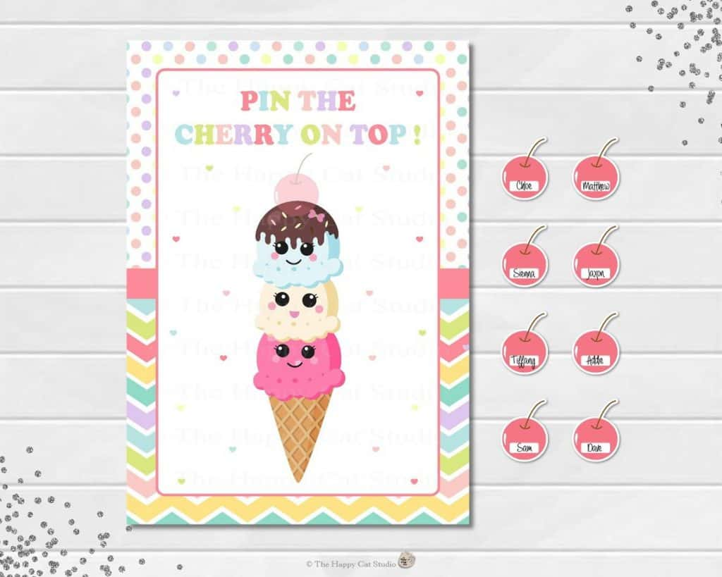 Pin the Cherry On Top Ice Cream Party Game (the happy cat studio)