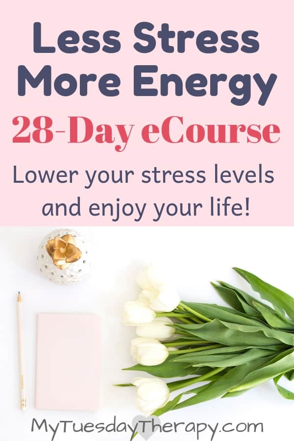 Less Stress, More Energy. 28-day eCourse to help you to lower your stress levels and enjoy your life.