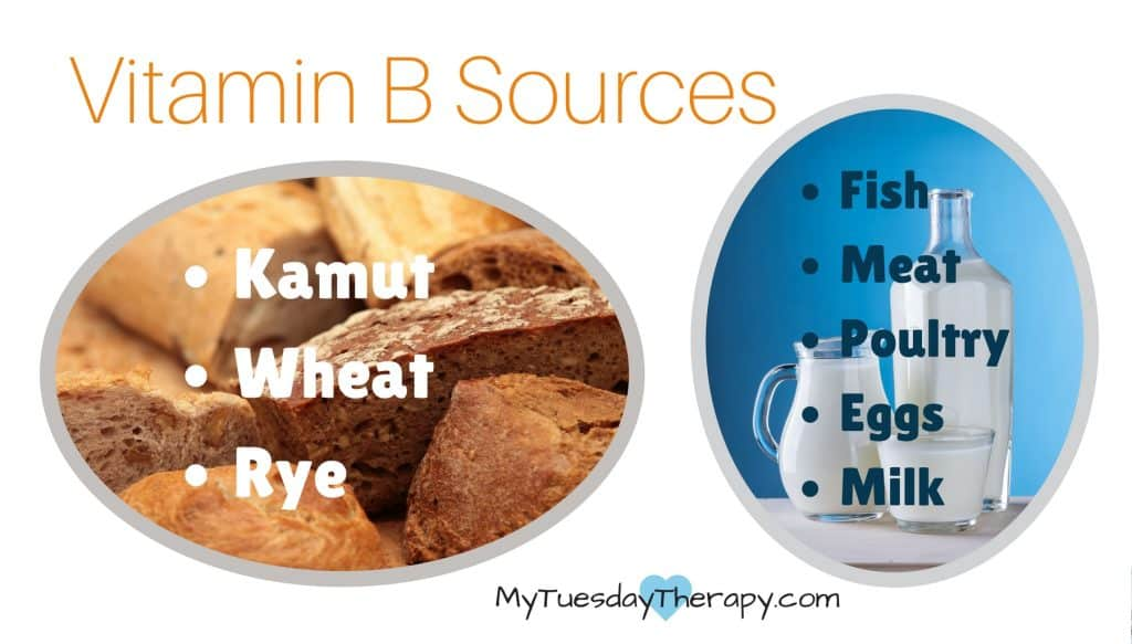 Vitamin B Sources: Kamut, Wheat, Rye, Fish, Meat, Poultry, Eggs, Milk. B vitamins for adrenal fatigue.