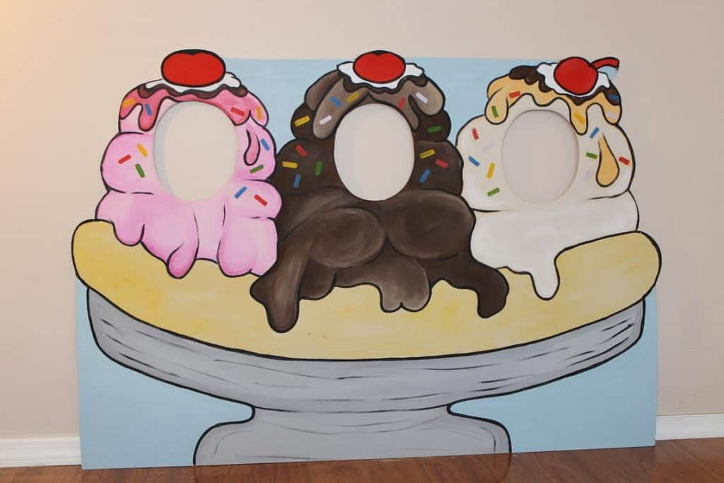 Banana Split Photo Booth (little goobers party) Ice Cream Party Ideas.