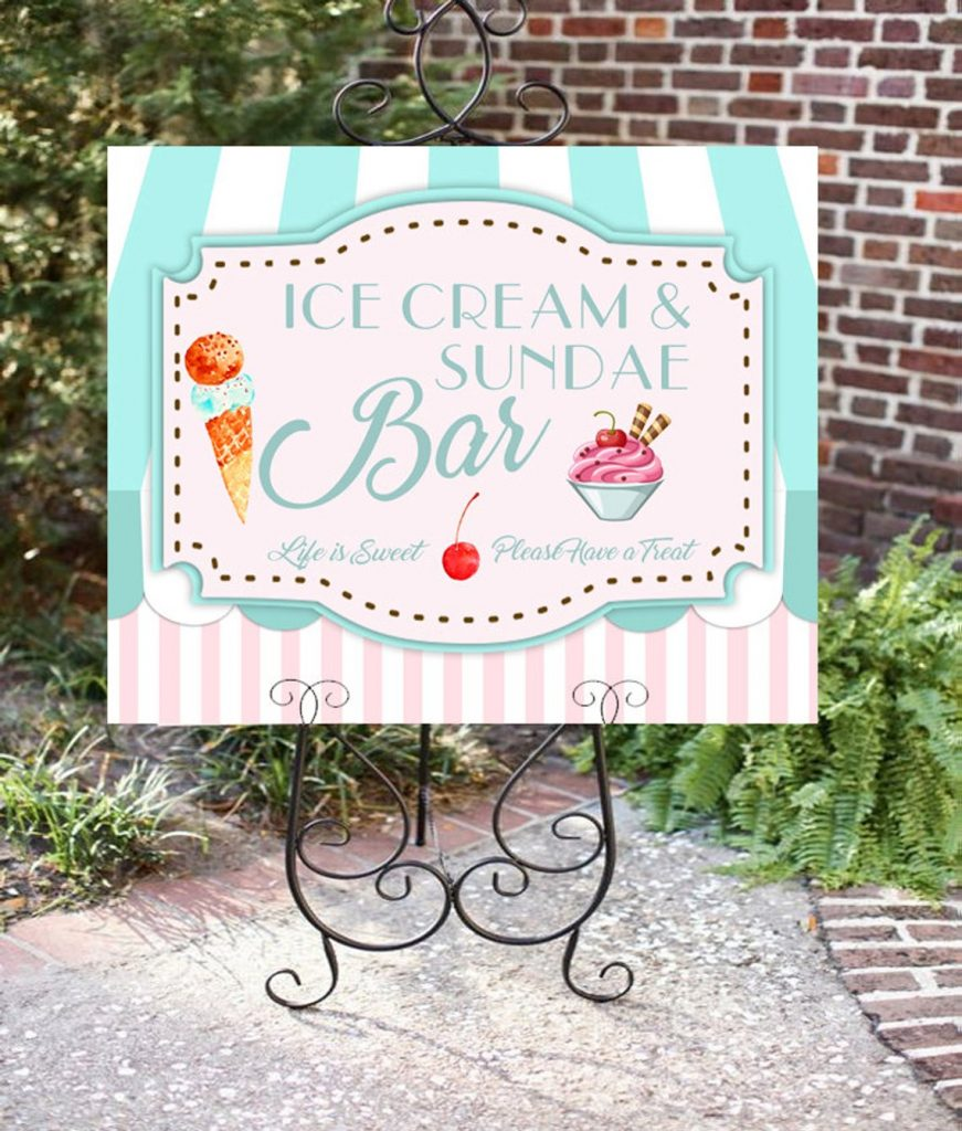 Ice Cream Bar Sign for Ice Cream Party (hottomatoink)