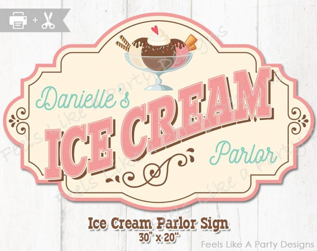 Vintage Ice Cream Parlor Sign (feels like a party) Ice cream party ideas.