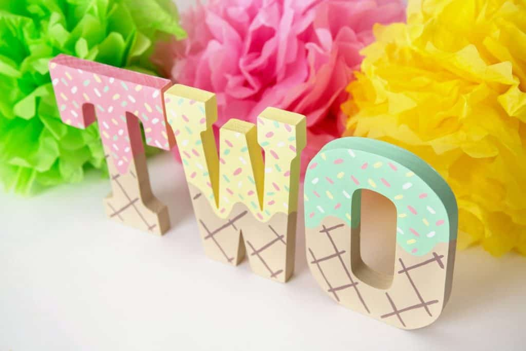 Wooden Letters for Ice Cream Party (chalkboards of atlanta) Ice Cream Birthday Party.