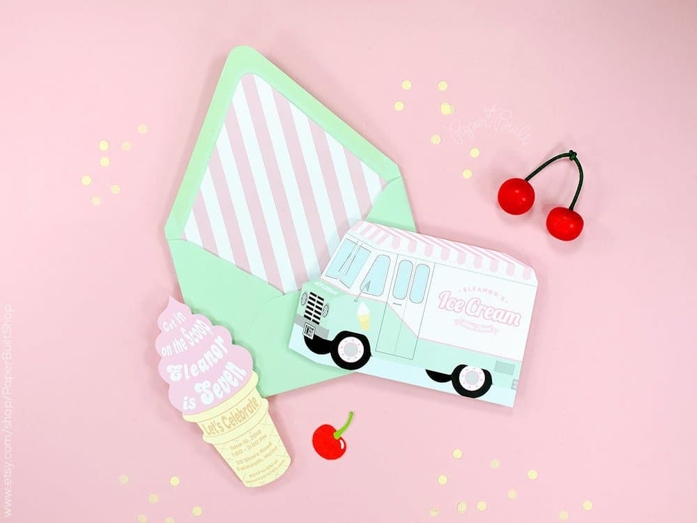 Ice Cream Birthday Party Invitation (paper built shop). Ice cream party ideas.