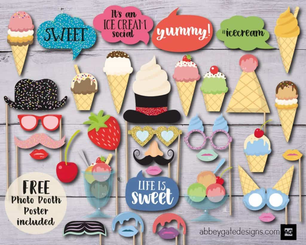 Ice Cream Party Photo Props (abbey gate designs).