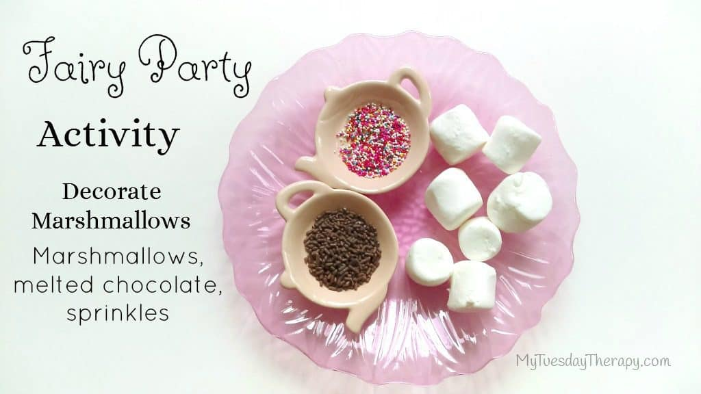 Fairy Party Activity. Decorate Marshmallows with melted chocolate and sprinkles.