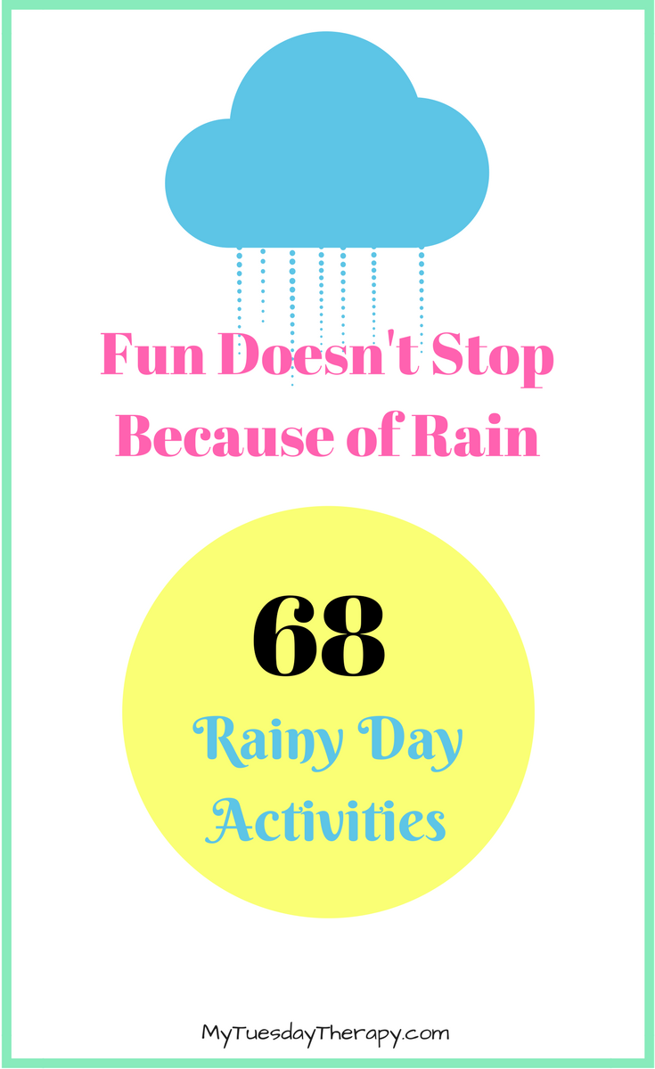 Rainy Day Activities. Family Fun. Summer Activities for Kids. It is raining but hey, bring the fun inside... or just simply play outside. Warm summer rain is so awesome! Or Check out these rainy day activities!