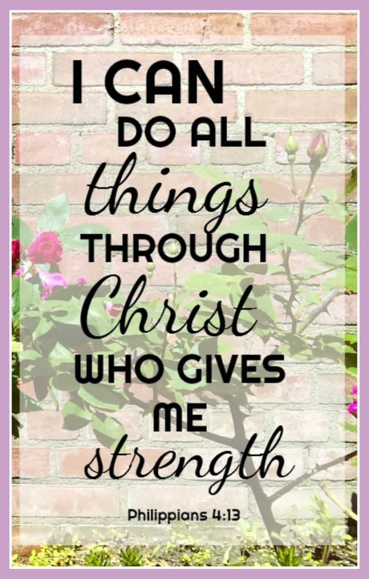 Verses of Encouragment. Philippians 4:13. I can do all things through Chrsit who gives me strength.