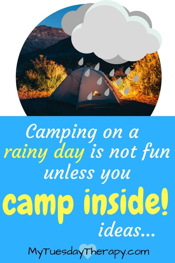 Camping on a rainy day is not fun unless you camp inside! | A tent with a big rain cloud above it.