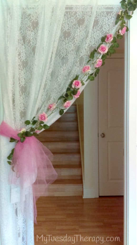 Fairy Party Entrance. Lace Curtains Attached to the doorway.