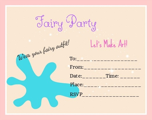 Fairy Art Party Invitation Free | Click through to see all the fun ideas for games, food, and Fairy Art Party activities |