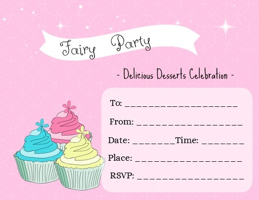 Fairy Party Delicious Desserts Invitation.