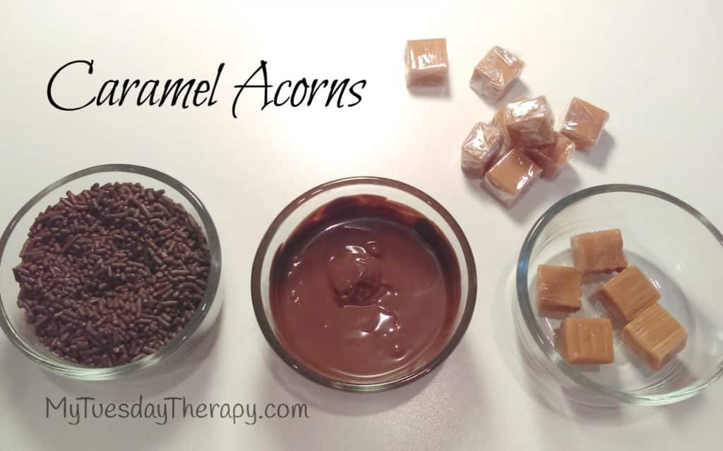 Caramel Acorns for the Fall Party for Kids. Lots of Fall Party Ideas.
