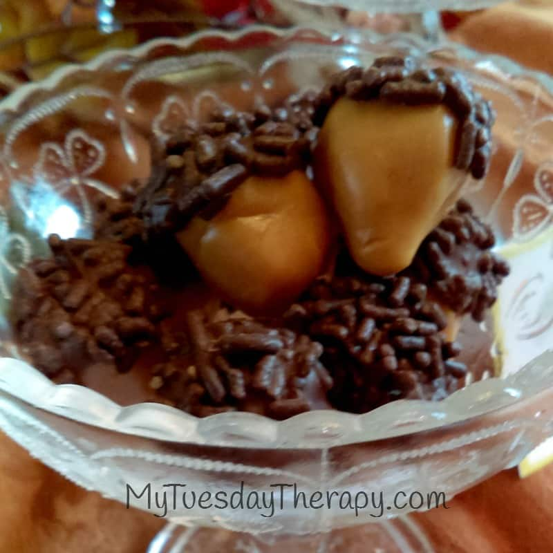 Caramel Acorns. Fall Party Food. Easy treat for your fall equinox party!