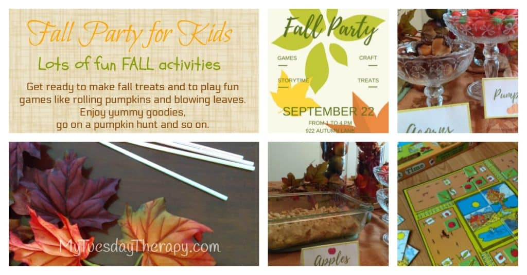 Fall Party for Kids. Lots of Fun Fall activities. Fall Board Games, Fall Party Games, Fall Party Treats.