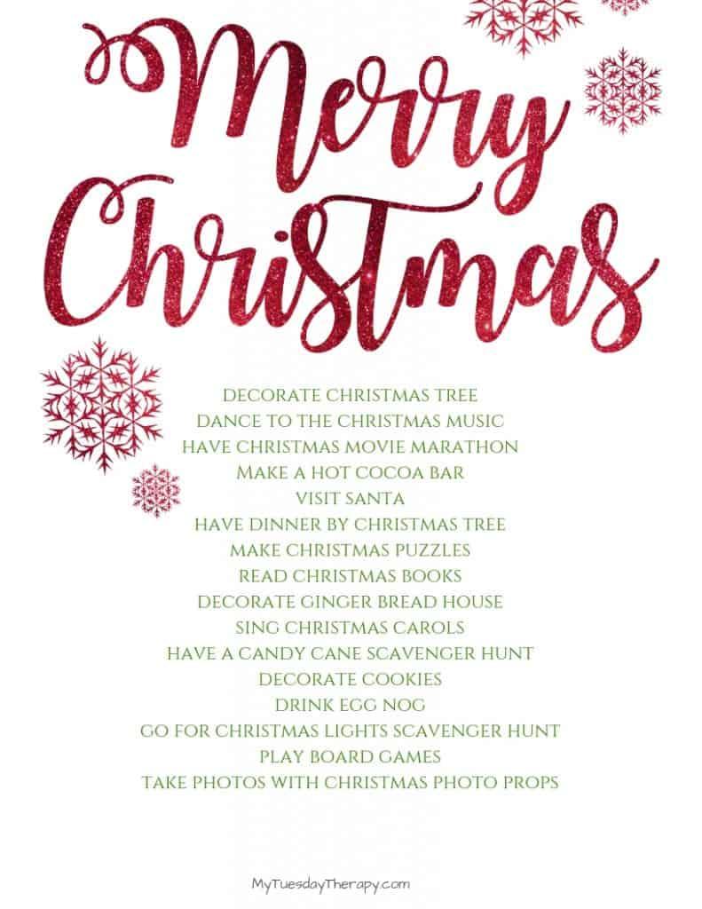 Christmas Bucket List Printable.