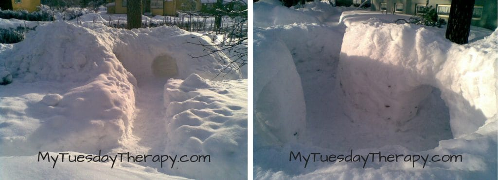 Snow Fort with Tunnels and Passageways. Winter Activities for Kids.