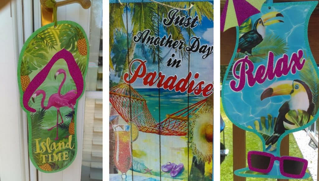Luau Party Signs. Island Time. Just another day in paradise. Relax.