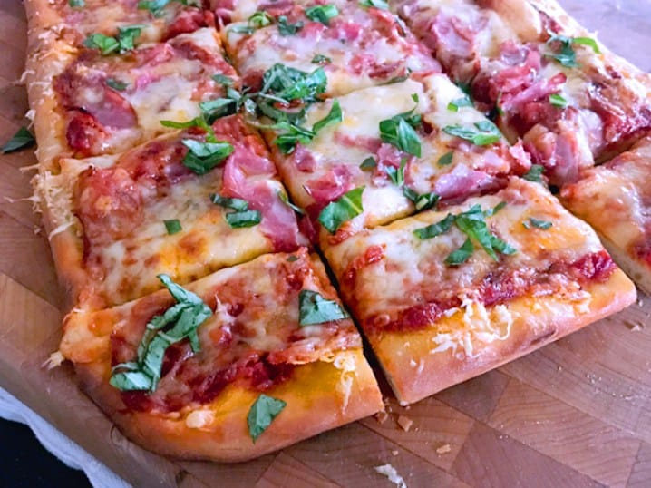 Pizza made with store bought dough.