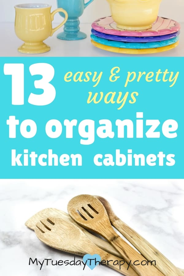 Easy and pretty ways to organize kitchen cabinets.
