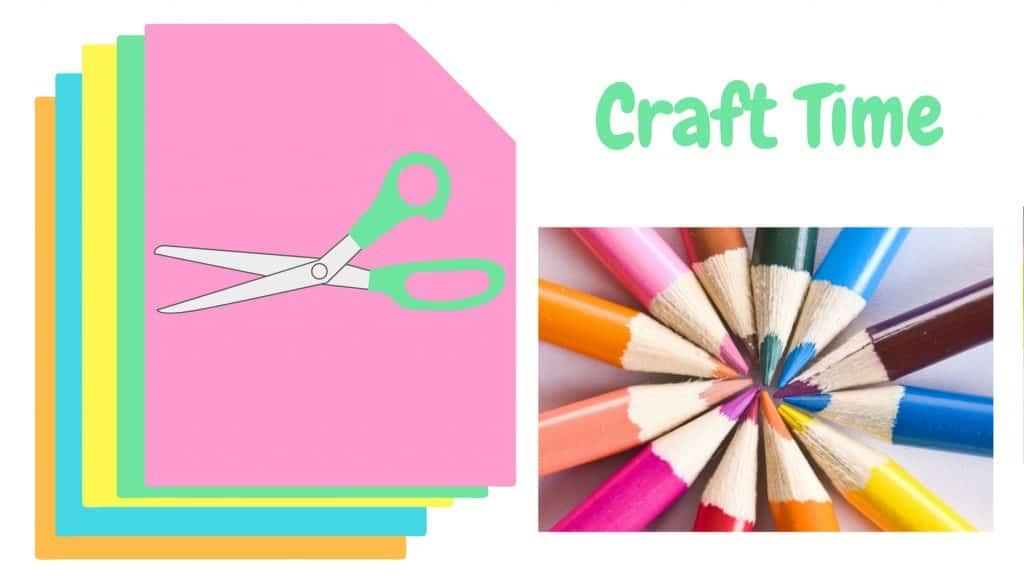 Craft time. Stack of colorful paper, scissors and pencils.