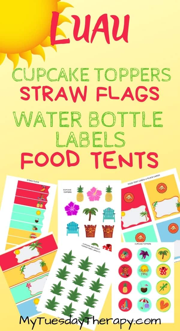 Luau Cupcake Toppers, Straw Flags, Water Bottle Labels, Food Tents. Instant download.