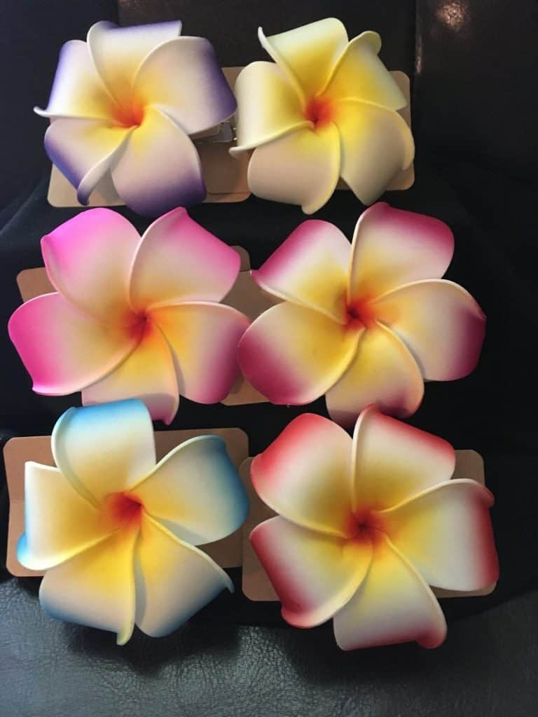 Plumeria Hair Clip (lava works hi) Inexpensive luau outfit ideas.