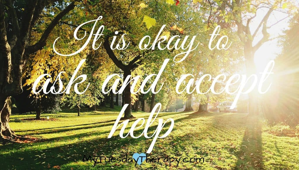 Mom selfcare: It is okay to ask and accecpt help. (an image of a park)