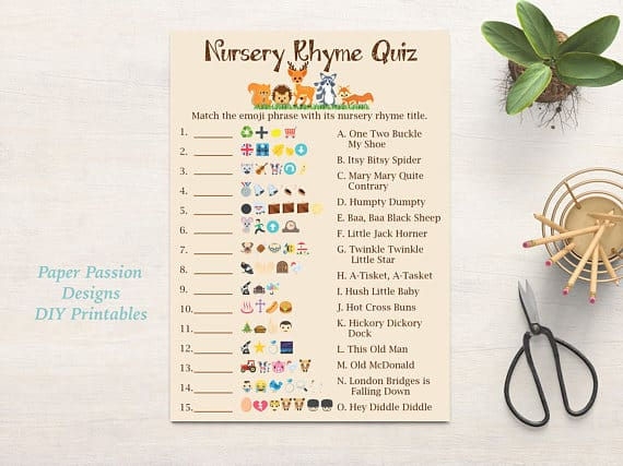 Emoji Nursery Rhyme Quiz. Woodland baby shower theme. (image paper passion designs)