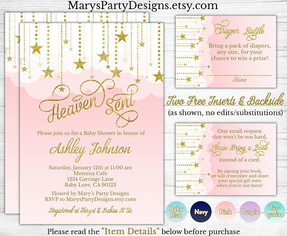 Heaven Sent Baby Shower Invitations.