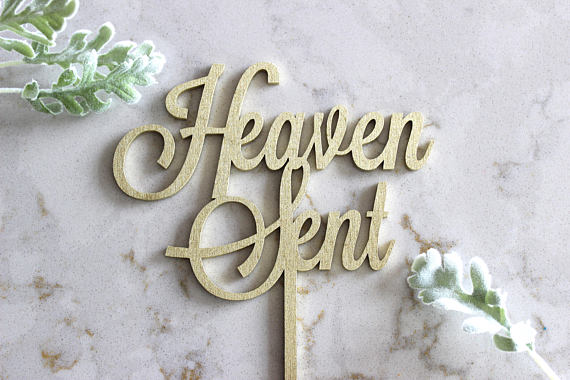 Heaven Sent cake topper for a baby shower.