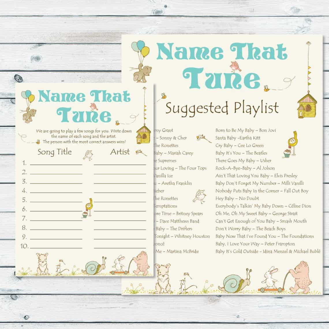 Name That Tune (graphicwispprints). Comes with suggested playlist. Baby Shower Game.