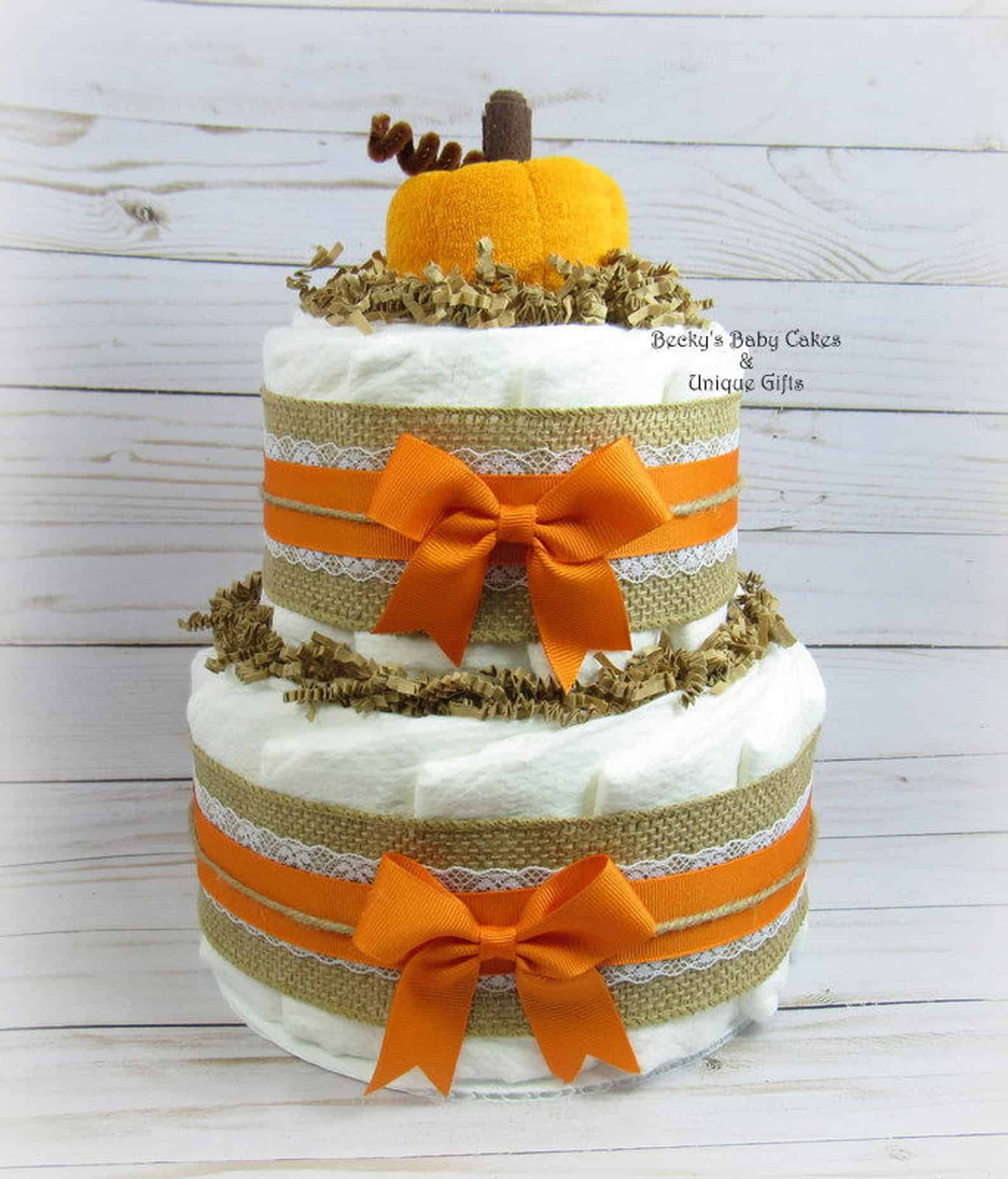 Pumpkin Diaper Cake (beckysbabycakesandun)
