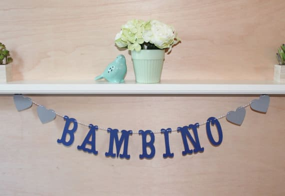 Bambino banner for Italian themed baby shower (image credit: Jess Made This)