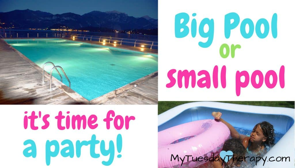 Easy pool party ideas for decorations, games and food. (an image of a big pool and a small inflatable fun with two kids splashing, text says: Big pool or small pool. It's time for a party)