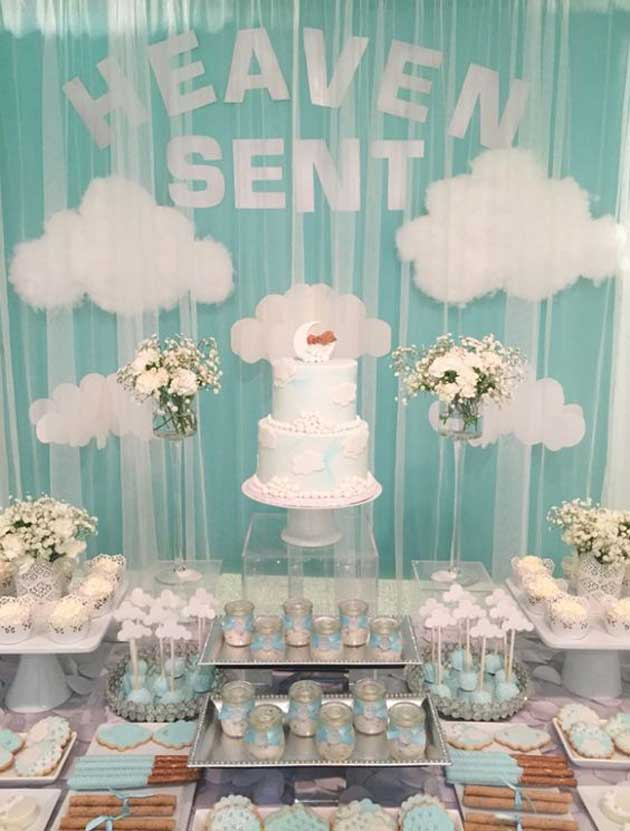 Heaven sent baby shower works well as a gender neutral theme. Or it can easily be made into a boy baby shower or a girl baby shower. (image credit: mon delice)