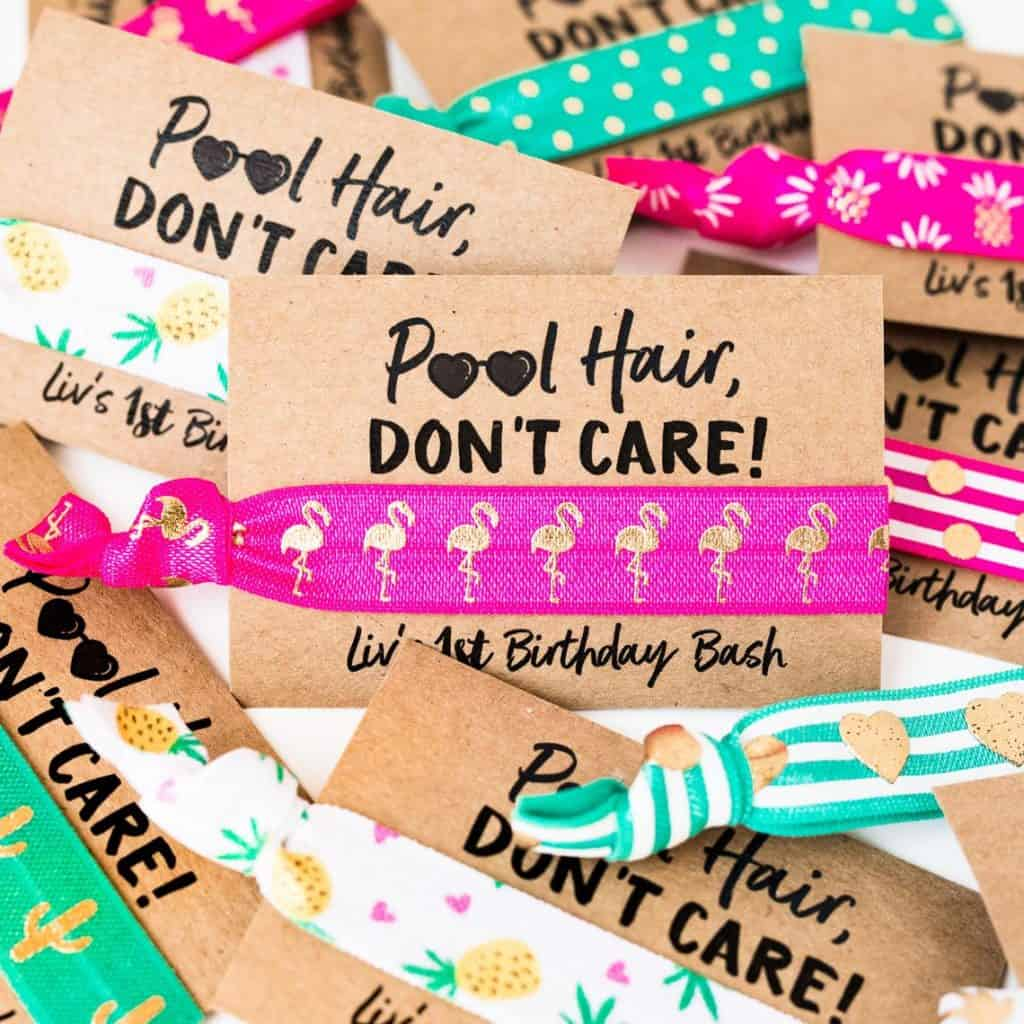 Pool Party Favor. Hair ties (love mia co)
