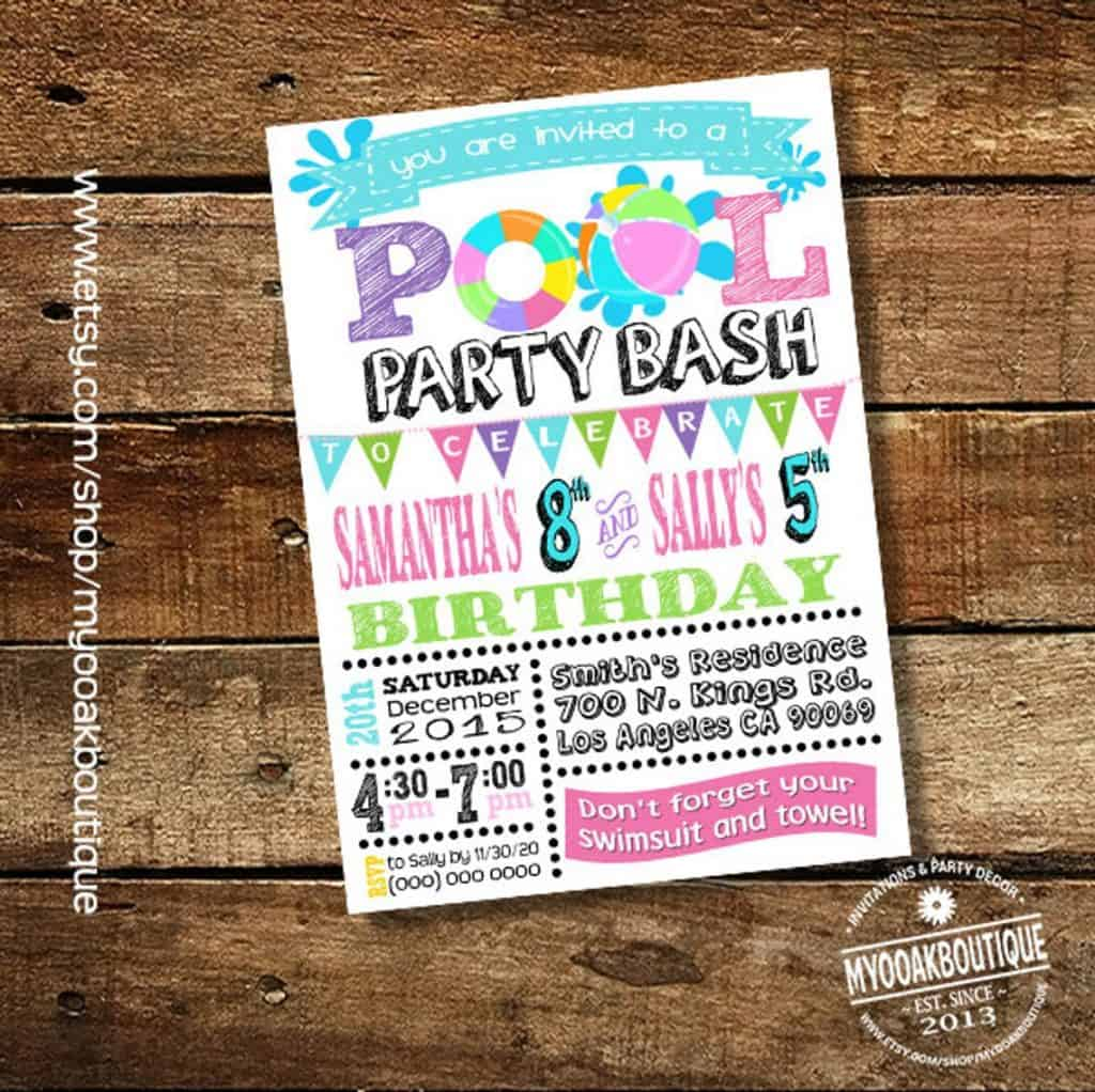 Pool Party Invitation (myooakboutique) Summer party for kids.