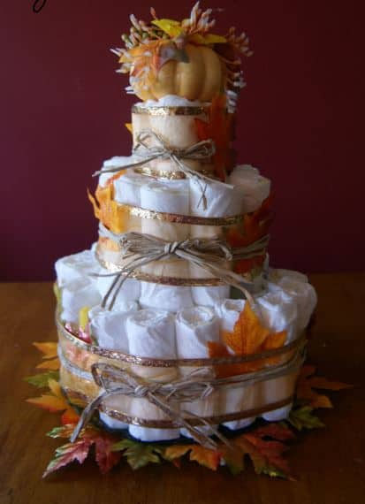 Little Pumpkin Baby Shower. Fall themed diaper cake. (Image Credit: Frugal Fanatic)