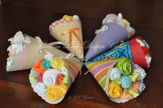 Baby shower gifts. Easy baby shower decorations. (image credit: Bottom Line Diaper Cake)