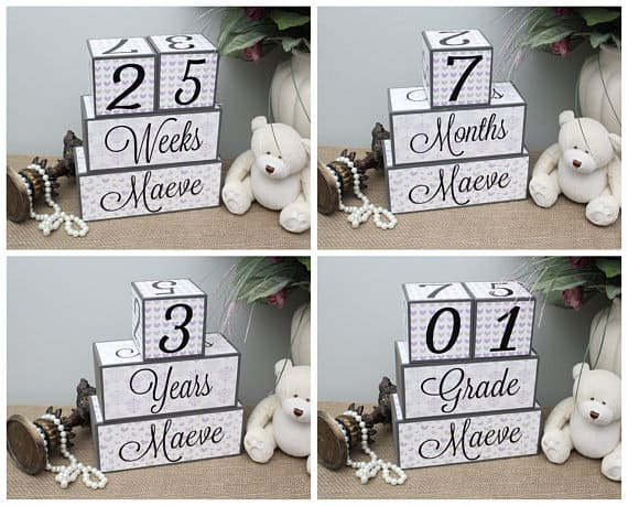 Baby Shower Gift Ideas. These milestone blocks make a creative and useful baby shower gift! (image timelessnotions)