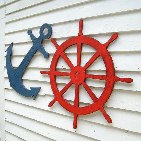 Nautical Decor. Wooden Helm. Birthday Party Theme. (image creidt: Haven America)