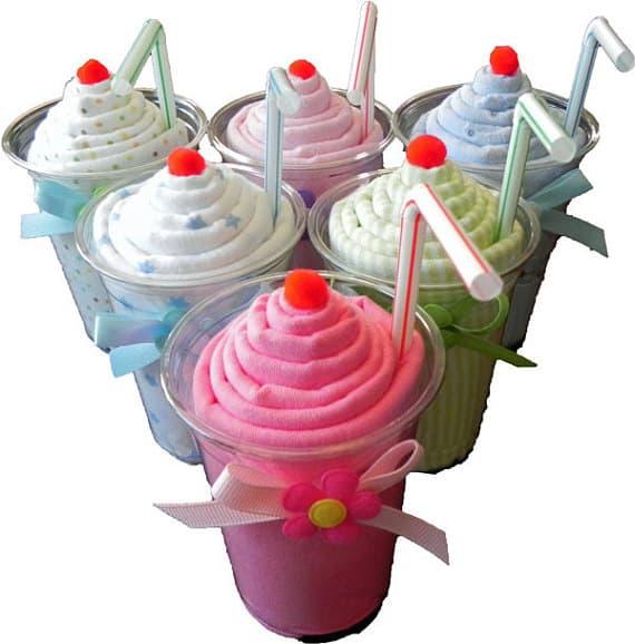 Cheap baby shower decoration ideas: receiving blanket milkshake from Baby Binkz
