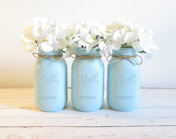 Baby shower for boys on budget: mason jar centerpiece