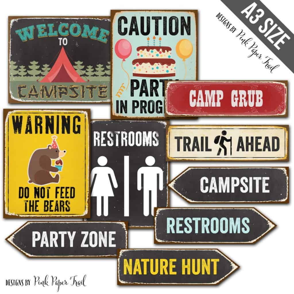Camping Party Printables (pink paper trail)
