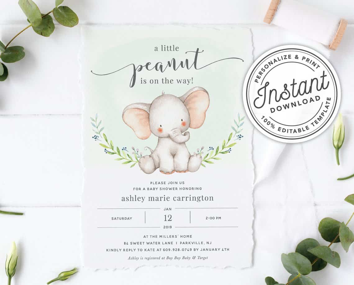 Cheap Baby Shower Invitation. Elephant Theme. (dandylionpaper)