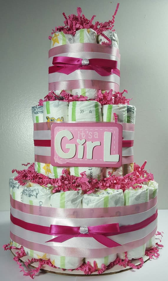 Cheap baby shower decoration: diaper cake from Little Home Mades.