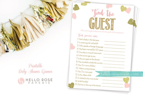 Find the guest. An easy baby shower game. Image: Hello Rose Paperie